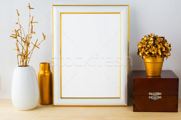 Frame mockup with wooden box Stock photo © TasiPas