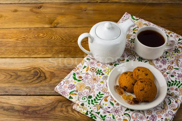 Taza de té tetera superior vista espacio de la copia té Foto stock © TasiPas