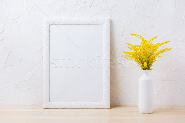 белый кадр декоративный желтый цветения Сток-фото © TasiPas