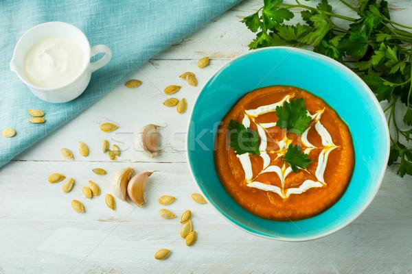 Cremoso calabaza sopa de verduras calabacín crema turquesa Foto stock © TasiPas