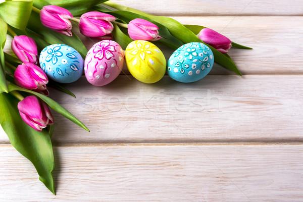 Paskalya dekore edilmiş yumurta lale buket iyi paskalyalar Stok fotoğraf © TasiPas