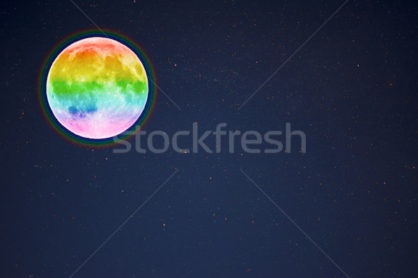 Full moon in the night starry sky background, copy space Stock photo © TasiPas