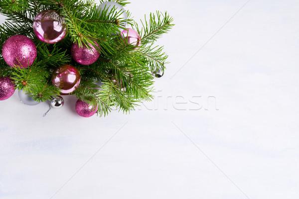 Karácsony üdvözlet magenta rózsaszín ezüst díszek Stock fotó © TasiPas