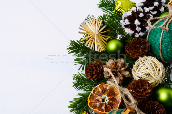 Christmas greeting background with handmade twine decorated baub Stock photo © TasiPas