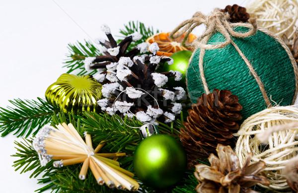 Natal feito à mão decorado pinho decoração Foto stock © TasiPas