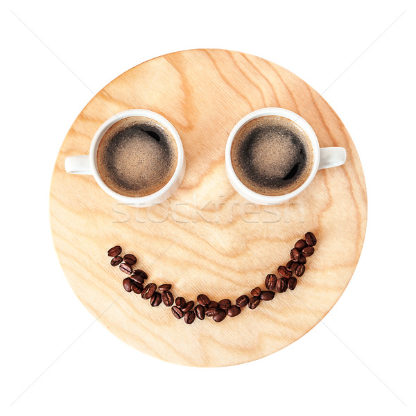 Funny coffee break concept on wooden background isolated on whit Stock photo © TasiPas