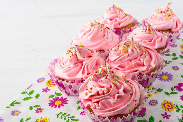 Różowy kwiatowy serwetka urodziny Zdjęcia stock © TasiPas