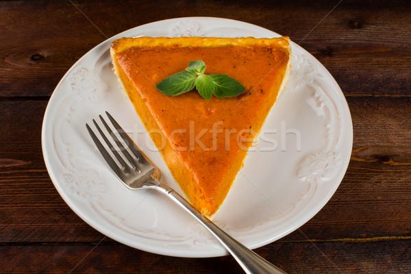 Pumpkin pie with mint Stock photo © TasiPas