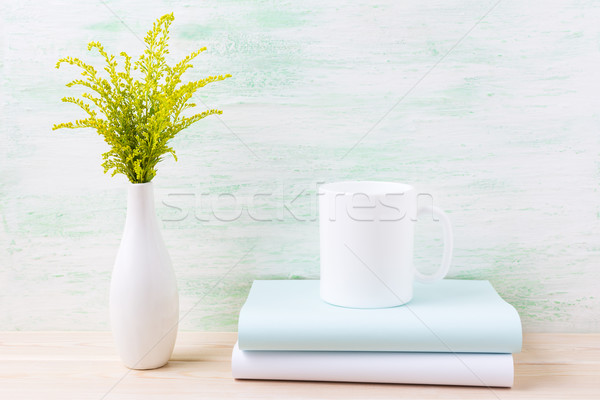 White coffee mug mockup with ornamental green flowering grass  Stock photo © TasiPas