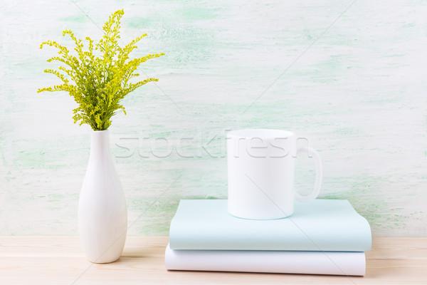 белый кружка кофе декоративный зеленый цветения Сток-фото © TasiPas