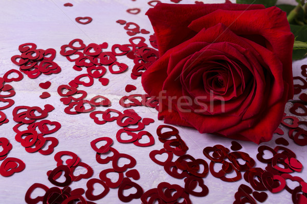 Fall in love concept with beautiful red rose on the small hearts Stock photo © TasiPas