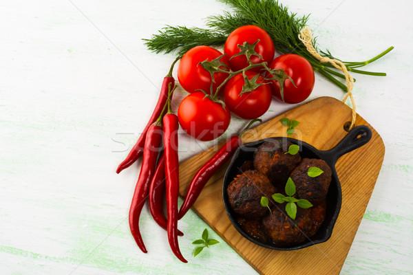 Húsgombócok paradicsomszósz copy space háttér hús paradicsom Stock fotó © TasiPas