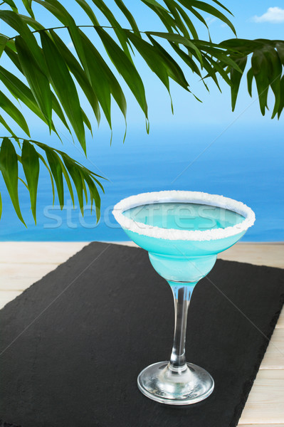 Kék koktél trópusi tengerpart martini nyár tengerpart Stock fotó © TasiPas