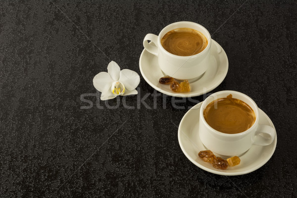 Two white cups of strong morning  coffee Stock photo © TasiPas