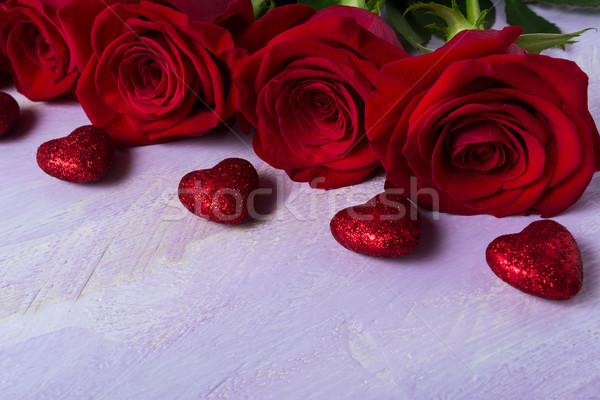 Rózsák orgona Valentin nap nap piros szív Stock fotó © TasiPas