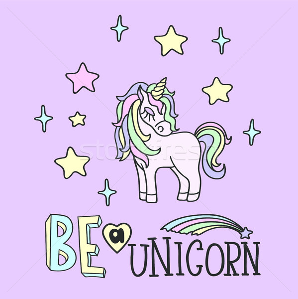 Pink unicorn and Be a unicorn lettering Stock photo © TasiPas