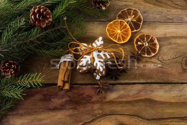 Karácsony sütik copy space ajándék cukormáz mézeskalács Stock fotó © TasiPas