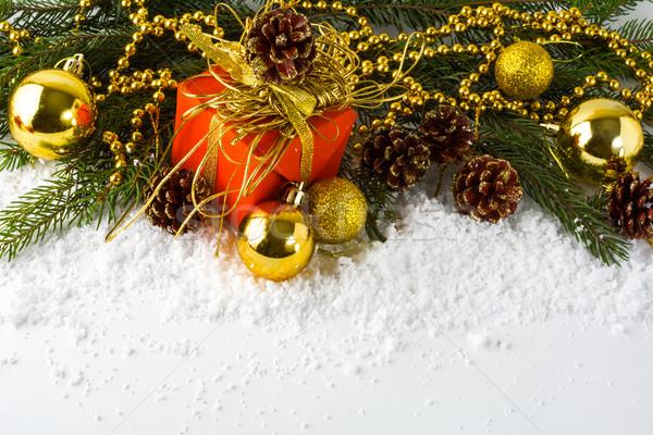 Рождества красный шкатулке ель Сток-фото © TasiPas