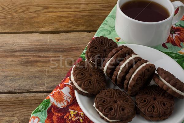 Domowej roboty czekolady kanapki kopia przestrzeń cookie suchar Zdjęcia stock © TasiPas