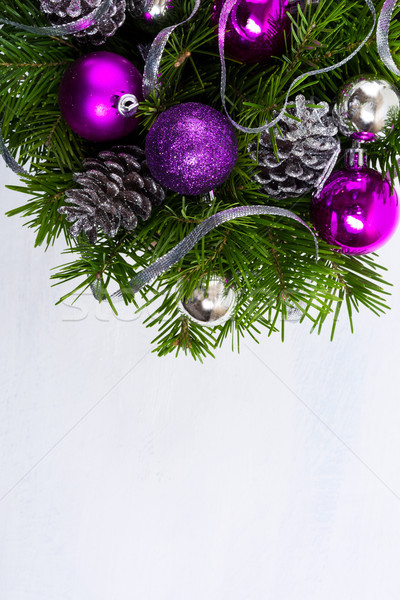 Marry Christmas background with purple baubles Stock photo © TasiPas
