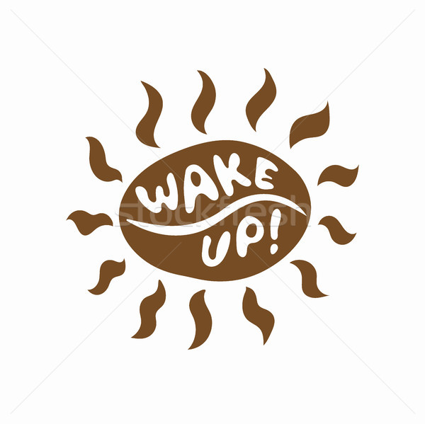 Barna kávébab nap ikon vicces virrasztás Stock fotó © TasiPas