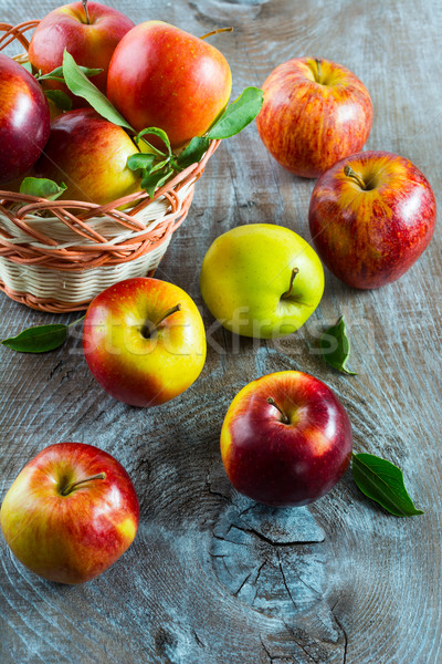 Stock photo: Ripe apples in the basket, top view