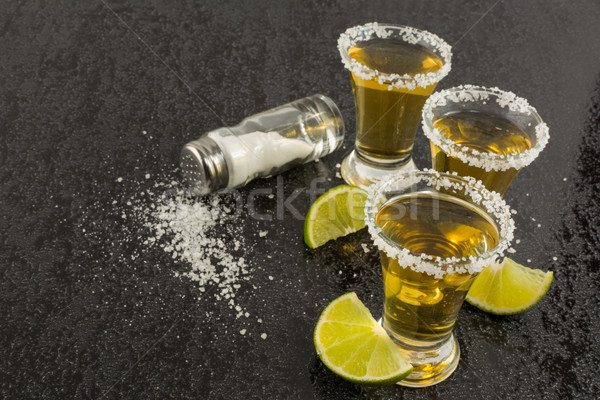 Photo stock: Tequila · chaux · sel · coup · or · mexican