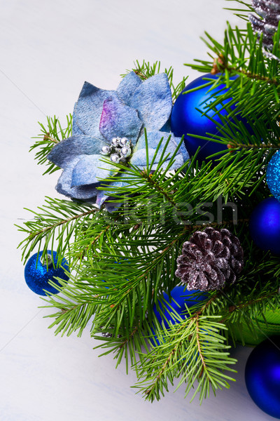 Рождества синий шелковые ель бледный Сток-фото © TasiPas