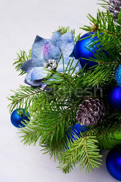 Natale blu seta rami pallido Foto d'archivio © TasiPas