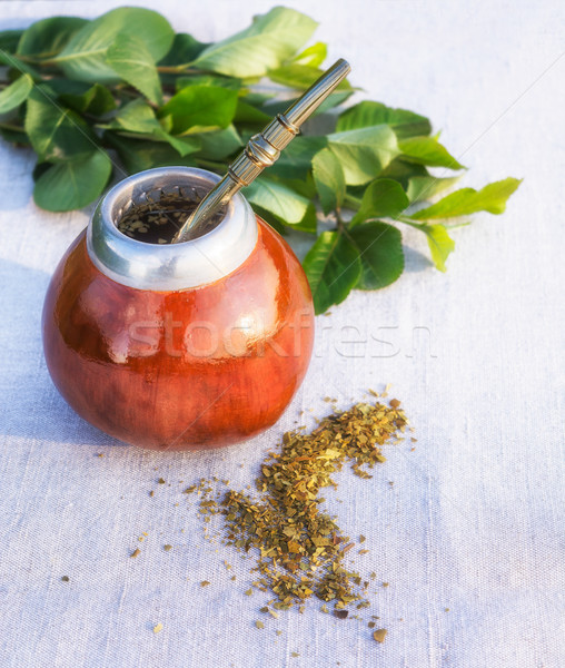 Yerba mate drink and leaves Stock photo © TasiPas