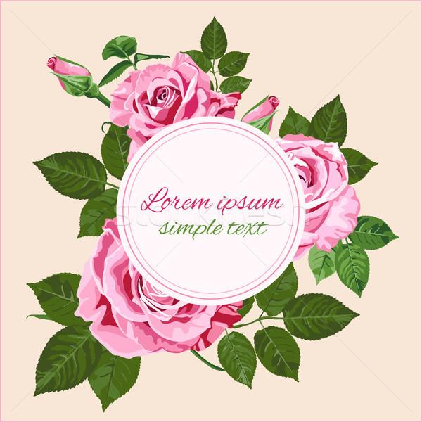 Vector bruiloft uitnodigingen roze rozen krans Stockfoto © TasiPas