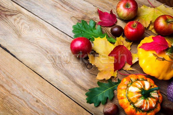 Apples, decorative pumpkin and yellow gourd with fall leaves  Stock photo © TasiPas