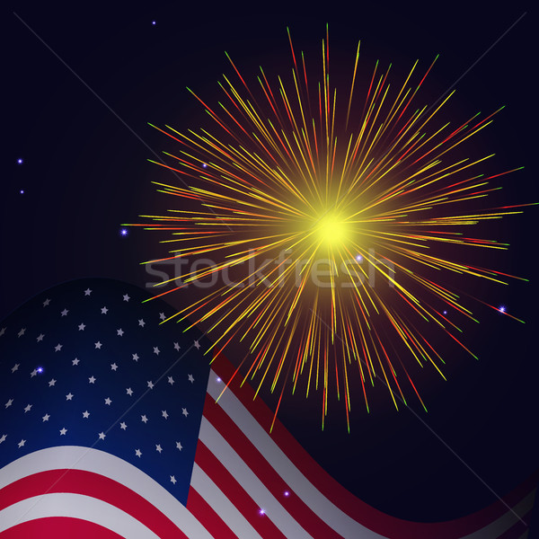4th of July radiant golden fireworks  Stock photo © TasiPas