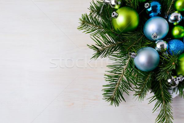 Natale tavola rami blu verde Foto d'archivio © TasiPas