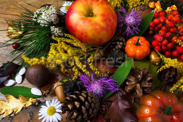 Caduta saluto mela tavolo in legno ringraziamento zucca Foto d'archivio © TasiPas