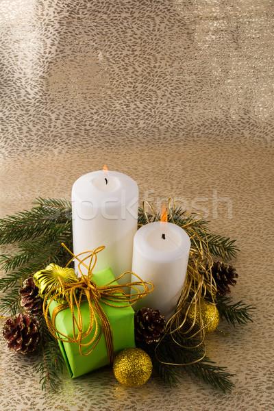 Natal velas ouro ardente branco verde Foto stock © TasiPas