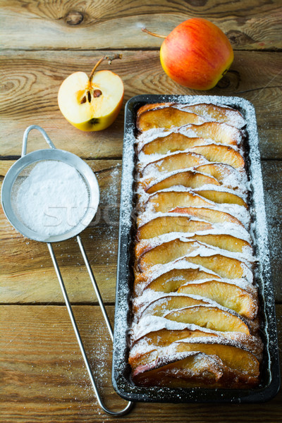 Almás pite desszert torta gyümölcs torta konzervdoboz Stock fotó © TasiPas