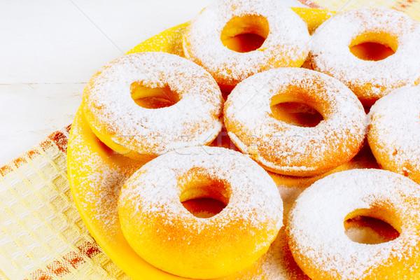Cukormáz házi készítésű fánkok citromsárga tányér édes Stock fotó © TasiPas