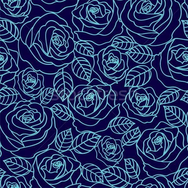 Blu contorno rose vettore pallido Foto d'archivio © TasiPas