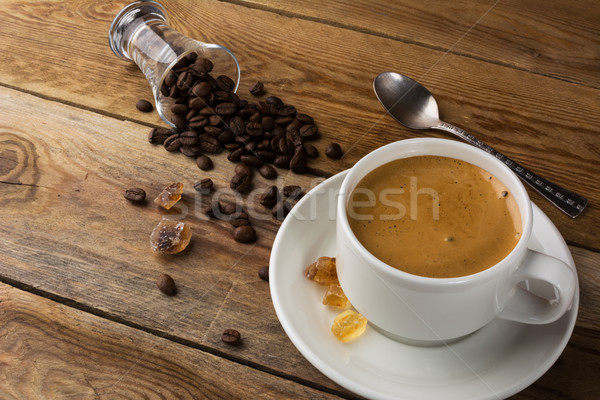 Coffee grains and cup of coffee Stock photo © TasiPas