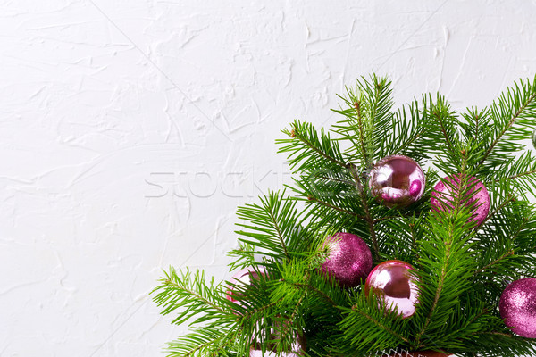 Christmas greeting card with glitter magenta and pink baubles, c Stock photo © TasiPas