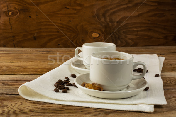 кофейные чашки служивший салфетку чашку кофе сильный Сток-фото © TasiPas