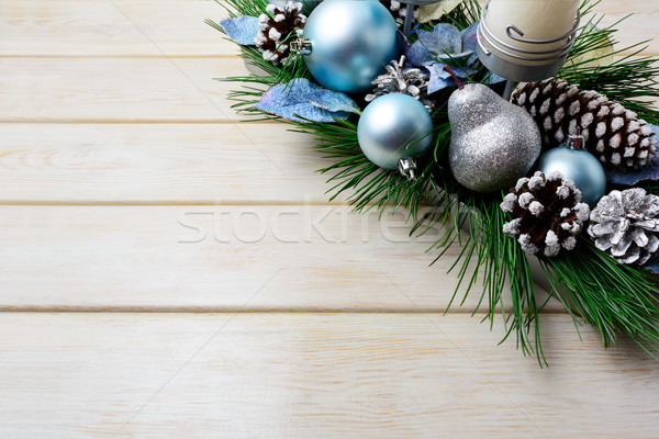 Christmas background with holiday decorated candleholder and blu Stock photo © TasiPas