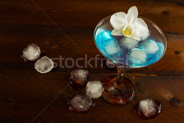 Cóctel azul martini superior vista frutas Foto stock © TasiPas