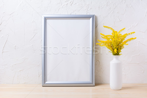 серебро кадр декоративный желтый цветения Сток-фото © TasiPas