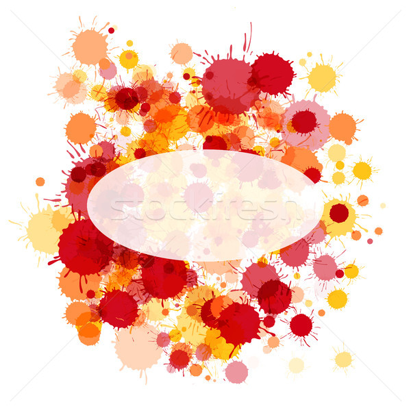 Bright red and orange watercolor ellipse frame card Stock photo © TasiPas