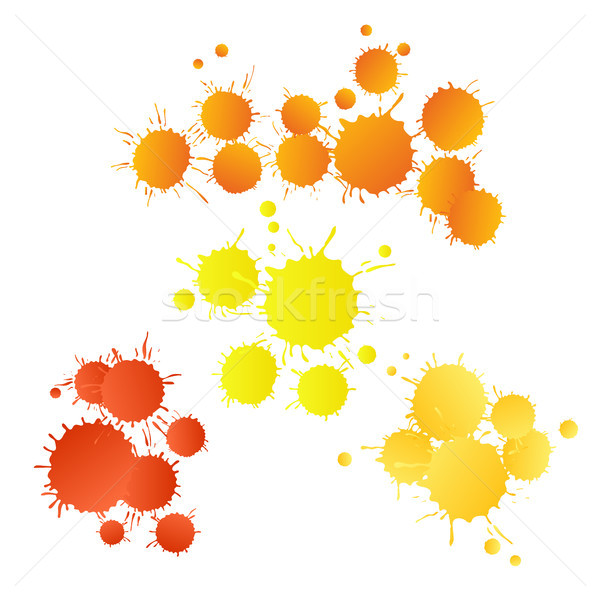 Red orange yellow watercolor paint drops  Stock photo © TasiPas