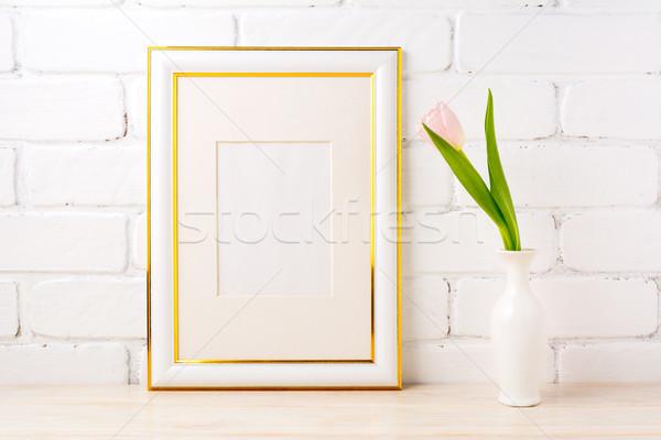 Złota odznaczony ramki blady różowy Zdjęcia stock © TasiPas