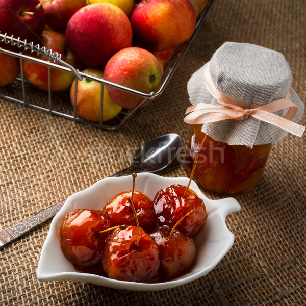 Cherry apples covered in syrup Stock photo © TasiPas