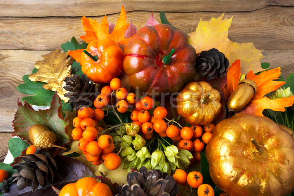 Thanksgiving greenery with golden pumpkins and acorns Stock photo © TasiPas